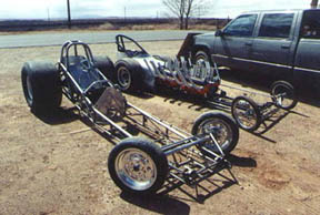 The Nitro Nova lined up next to Stinson's restored Laff Clown digger